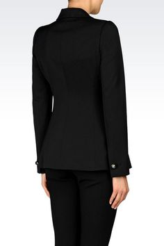 Emporio Armani Women Double Breasted Jacket - DOUBLE BREASTED JACKET IN STRETCH WOOL Emporio Armani Official Online Store