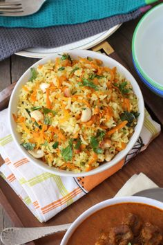 Carrot Rice-1 grated carrot, 2 1/2 cups of cooked rice, 1/4 tsp. cloves, 1/2 tsp cinnamon, 3/4 tsp. minced garlic, 1 onion (finely chopped), 1/8 tsp. crushed bay leaf, 1 clove. Cook carrot, 1 Tbs. olive oil, and spices together in skillet for 7-8 minutes. Add cooked rice and cook on low for 3 minutes. (enough for 2 servings roughly) -Heidi - Has good flavor!