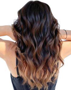 Dark Ombre Hair, Brown Hair Balayage, Hair Color Balayage, Dark Hair, Black To Brown Ombre Hair, Dark Brown To Light Brown Ombre, Auburn Ombre Hair, Ombre Hair Brunette, Black Hair With Highlights
