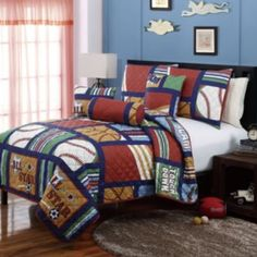 His sports-themed bedroom is sure to stand out with this All Star quilt set. - VCNY All Star Quilt Set Home, Comforter Sets, Bedding Sets, Vcny, Coverlet Set, Furniture, Kids Bedding Sets, Bedding Stores, Sports Bedding