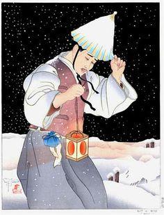 Nuit De Neige. Coree - Paul Jacoulet 1939