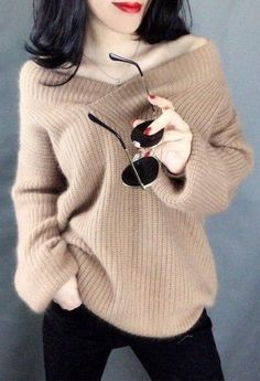 d57b0c8766f YuooMuoo Thick Winter Sweater Women V-neck High Quality White Pullover  Lantern Long Sleeve Loose Tops Female Cashmere Sweater