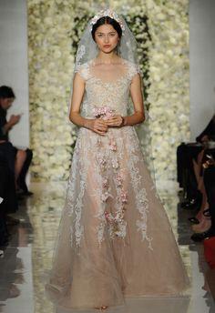 Champagne Underlay Lace Wedding Dress | Reem Acra Wedding Dresses Fall 2015 | Maria Valentino/MCV Photo | Blog.theknot.com