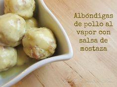 Albóndigas de pollo al vapor con salsa de mostaza / Chicken steamed meatballs with mustard sauce Albondigas, Garlic, Healthy Recipes, Healthy Food, Cheese, Chicken, Vegetables, Cooking, Sauce