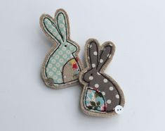 Fabric Rabbit Brooch with freemotion sewing