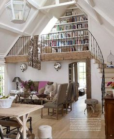 Jill Sharp living room. Love the stair and railing.