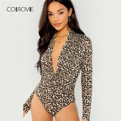 dd86a69758 COLROVIE Surplice Neck Slim Fitted Leopard Sexy Bodysuit 2018 Autumn Night  Out Long Sleeve Bodysuit V