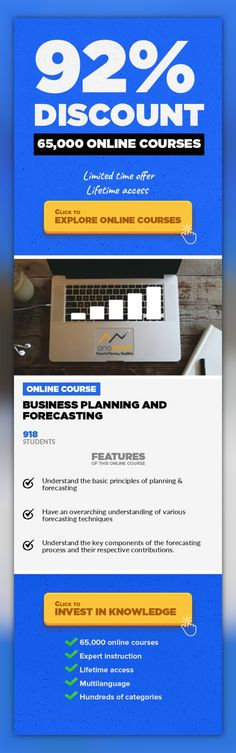 Business Planning and Forecasting Other, Business  Learn the basics of business planning & forecasting process, methods and measurements from planning professionals Use Code 'WELCOME' for 10% discount This is a comprehensive business planning and forecasting course that covers both qualitative and quantitative aspects such as the planning process and forecasting techniques. The course has been d...