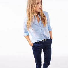 GANT Diamond G - Perfect Oxford shirt Capri Blue Voor Dames | Officiële Site