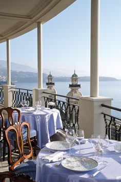 The Grill, located on the top floor of Hotel de Paris. Stunning views of Monte Carlo and the Mediterranean Sea. http://www.hoteldeparismontecarlo.com/restaurants-and-bars/le-grill/