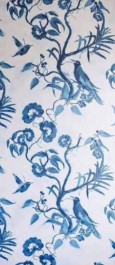 Design by HELENE BLANCHE Colour: Creme and charcoal blue. Product code: THE TEA HOUSE PAPER TCW Charcoal Blue. The wallpaper is non woven and available from stock. Textile Design, White Flowers, Rooster, Hand Painted, Colours, Black And White, Wallpaper, Drawings, Prints