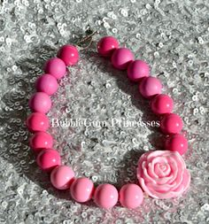 Chunky BubbleGum bead necklace PINK ombré girls toddler baby Jewelry on Etsy, $18.00