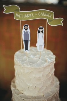 Alternative Wedding Inspiration · Rock n Roll Bride · Illustrated cake topper