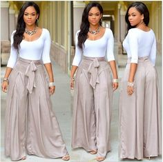 Casual Two-piece Suit Sleeve O-neck White T-shirt High Waist Loose Long Pants www.essish.com