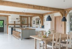 Border Oak collaborated with design studio Fernio Furniture to create a bespoke kitchen for a new build family home based on the principles of quiet detail Timber Kitchen, Barn Kitchen, Kitchen Redo, Kitchen Layout, Rustic Kitchen, Kitchen Design, Country Kitchen Diner, Open Plan Kitchen Diner, Open Plan Kitchen Dining Living