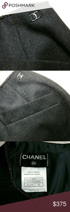 Make an offer !!  CHANEL CASHMERE & WOOL SKIRT This is a gorgeous cashmere and wool Chanel skirt in excellent condition size 42 silk lined ,zipper and hook closure two faux slit pockets in the front and a black chain around the waistline and a Chanel logo on the top left hemline. FEEL FREE TO MAKE AN OFFER CHANEL Skirts