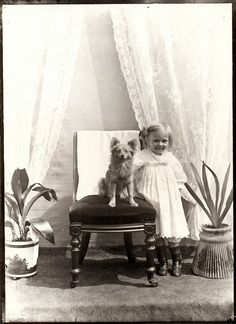 vintage everyday: Vintage Portraits of Girls with Their Dogs
