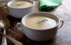 Fennel, Garlic and Potato Soup - This anise-scentedsoup is reminiscent of the classic potato and leek soup known as vichyssoise,but it's lighter and contains no dairy. It's good hot or cold.
