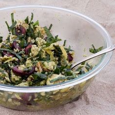 Chicken Kale Cherry Salad. This is a WINNER!  No Garlic scapes available so used garlic and chives in dressing.   Used quinoa/brown rice blend instead of brown rice since that is what I had on hand.   Think this wd be good w either ingredient on its own.   (First made 6/11/13).