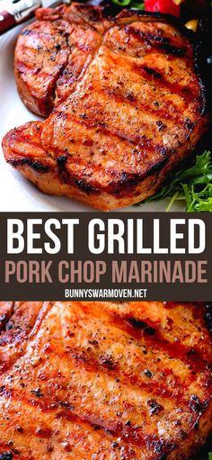 Best Grilled Pork Chops, Grilled Steak Recipes, Grilled Meat, Grilling Recipes, Pork Recipes, Best Grill Recipes, Smoker Recipes, Marinade Porc, Pork Marinade