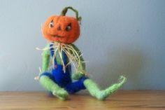 Jack O Lantern  doll   needle felted by woolinlegends on Etsy, $56.00
