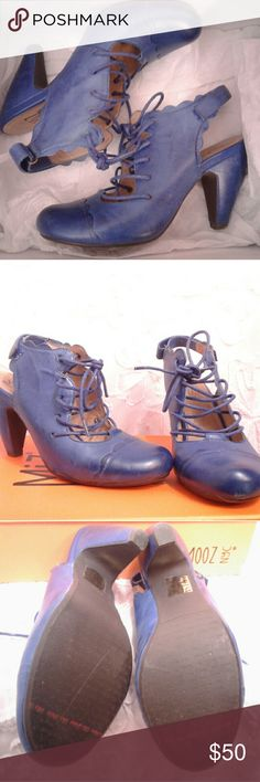 Miz Mooz lace up sling-back pumps sz 6 The cutest blue Miz Mooz lace up sling-back pumps with velcro closure in the back. The color is fabulous. These shoes are barely worn, the soles look new. Shoes Heels
