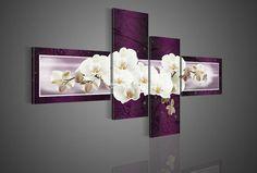 pièce 4 violet. décoration moderne peinture à l'huile sur toile art mural fleur