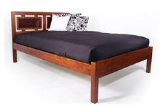 Futon Bed with Cherry Headboard   Futon Platform Bed