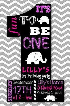 10 #personalised first 1st birthday party invitations #invite #girls elephant the, View more on the LINK: http://www.zeppy.io/product/gb/2/281995049045/