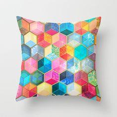 Crystal Bohemian Honeycomb Cubes - Colorful Hexagon Pattern Throw Pillow