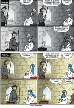 """Haderer-Karikatur vom 14. Dezember 2013: """"Legende und Wahrheit"""" (Bild: Haderer)"""