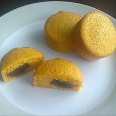 Queques de cenoura e recheio de Chocolate #queques #muffins #cenoura #carrot #chocolate