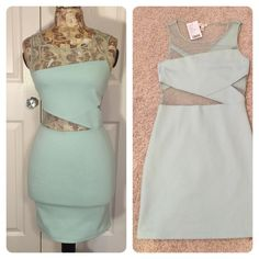 New with tags! Urban Outfitters Dress Pretty and feminine mint green body con dress. Netting and fabric in all the right places!  Spandex for fit and comfort. silence & noise from Urban Outfitters. Urban Outfitters Dresses