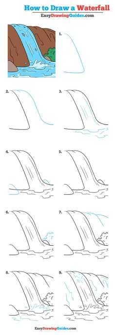 How to Draw a Waterfall – Really Easy Drawing Tutorial Learn How to Draw a Waterfall: Easy Step-by-Step Drawing Tutorial for Kids and Beginners. See the full tutorial at Easy Drawing Tutorial, Landscape Drawing Tutorial, Landscape Drawings, Landscape Drawing For Kids, Landscape Paintings, Landscape Art, Drawing Lessons, Drawing Techniques, Art Lessons
