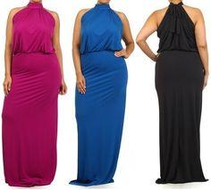 PLUS MAGENTA BLACK ROYAL BLUE TURTLENECK FULL LENGTH MERMAID MAXI DRESS GOWN CRU #LAFASHIONS #Maxi #Cocktail