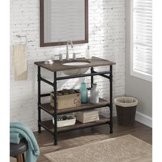 Rustic yet refined this bathroom vanity will add an industrial flair to your bathroom decor. It features a solid wood top and steel tube frame complete with pipe fitting details and and an oval sink.