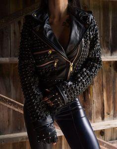 Girls Black Leather Jacket, Studded Leather Jacket, Biker Leather, Leather Jackets, Cowhide Leather, Real Leather, Punk Jackets, Riders Jacket, Gothic Fashion