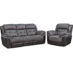 Tacoma Dual-Power Reclining Sofa and Recliner Set | American Signature Furniture