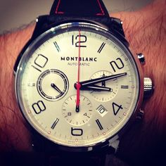 MONTBLANC'S new time walker US 2013 exclusive. Matte calf black strap with contrast red stitching make it a stand-out. TS