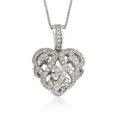 .24 ct. t.w. Diamond Heart Necklace in 14kt White Gold. 18""