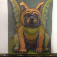 """Pug gargoyle painting by sylvia gray, oil on canvas, 12"""" x 9"""""""