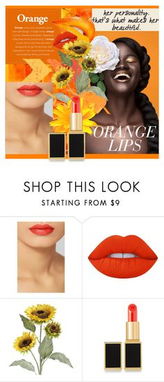 """Orange Lips"" by sandrascloset ❤ liked on Polyvore featuring beauty, Tom Ford, Lime Crime and Pier 1 Imports"
