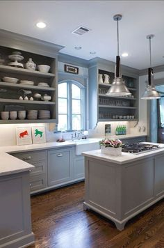 Wall color with grey cabinets best wall color for grey kitchen cabinets grey kitchen cabinets and . wall color with grey cabinets Blue Gray Kitchen Cabinets, Grey Painted Kitchen, Open Kitchen Cabinets, Kitchen Island With Stove, Kitchen Cabinet Colors, Painting Kitchen Cabinets, Kitchen Colors, New Kitchen, Kitchen Decor
