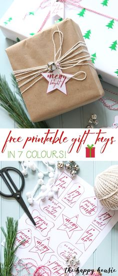 Jingle Bell Gift Wrapping with Free Printable Christmas Gift Labels – The Happy Housie Christmas Labels, Free Christmas Printables, Christmas Gift Wrapping, Christmas Tag, Free Printables, Printable Labels, Homemade Christmas, Christmas Ideas, Christmas Decorations