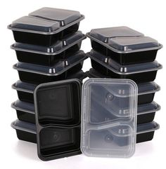 BPA Free Safe Two Compartment Plastic Lunch Boxes with Lids - KitchenRave - 1