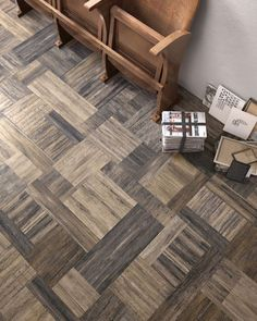 """Pictart Dark: a humongous  porcelain tile of 36"""" by 36"""" that provides a modern segmented pattern."""