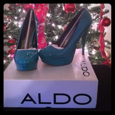 ALDO LINDALL Teal Heels Aldo LINDALL Teal color high heel shoes. Brand new condition, worn once for pictures and taken off immediately after. Inside footbed has no signs of wear. Comes with box and original packaging. ALDO Shoes Heels