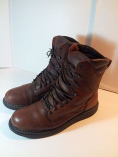 NICE! Men's Red Wing RedWing USA Work Boots Brown Leather- sz. 13 EH Wide #RedWing #WorkSafety