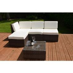buy cadiz modular garden rattan corner sofa set with table brown from our rattan garden furniture