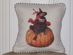shabby chic Little Witch Halloween pillow sham by kreativbyerika, $30.00